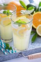 Homemade citrus lemonade in tall glasses photo