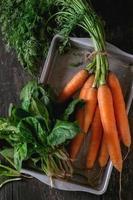 manojo de zanahorias y espinacas