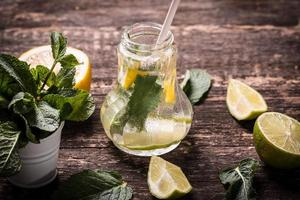 Fresh drink with lemon and mint