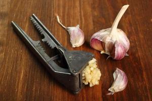 Garlic crushed and garlic press