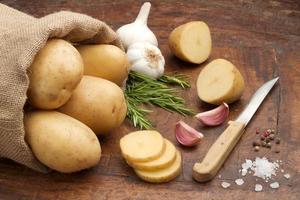 potatoes, garlic and rosemary