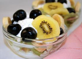 Mixed fruit salad with cream