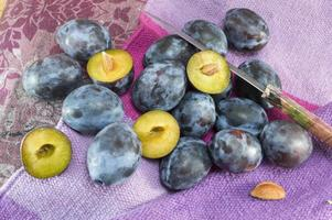 Bunch of fresh plums on a purple background photo