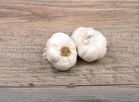 Garlic on wood photo