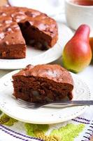 Slice of chocolate pear cake