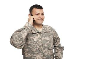 Soldier using cell phone
