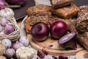 onion and garlic with a bread photo