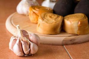 Garlic bud on ceramic tiles