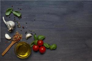 Tomato, basil and pepper with garlic photo
