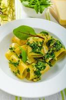Rigatoni with garlic and herbs pesto photo