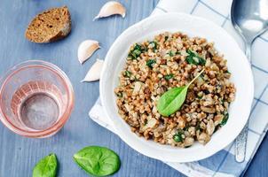 spinazie, champignons boekweit