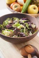 lettuce in wood bowl