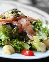 close up raw salmon salad