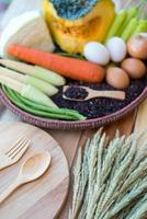 clean food,vegetables set , on wooden table