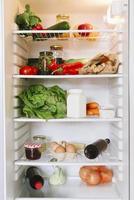 Open vegetarian fridge photo