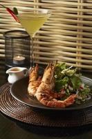 Grill Tiger prawns salad