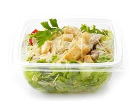 salad in a plastic take away box photo