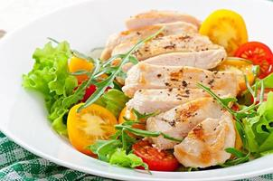 Grilled chicken breasts and fresh salad