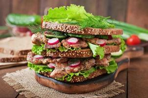 Sandwich with meat, vegetables and slices of rye bread