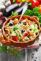 Pilaf made of wheat grains and vegetables photo