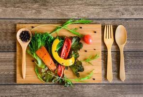 Ingredients of Fresh vegetable salad photo