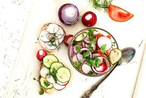 Spring salad with radishes, cucumber, cabbage and onion close-up