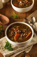sopa casera de cebada con champiñones