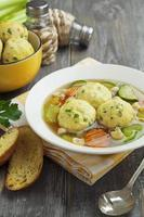 Spring soup with meatballs turkey