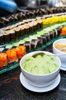 Sushi are arranged on the plate photo