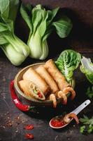 Spring rolls with vegetables and shrimps