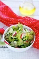 Salad with radishes and cucumber in a bowl photo