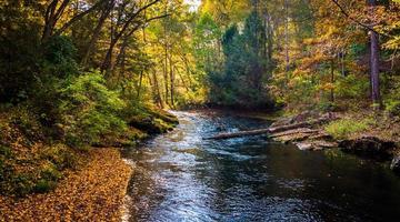 principios de otoño de color a lo largo del río de pólvora en pólvora cae