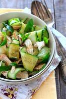 Oriental salad with cucumber and chichen photo