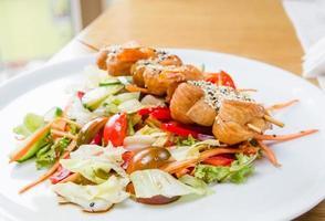 Chicken skewers salad