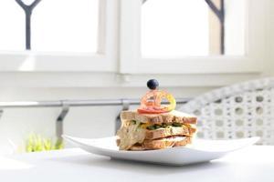 sandwich en placa - imagen de stock