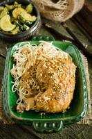 Chicken legs with peanut butter and chinese noodles