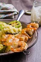 Fried shrimp on skewers