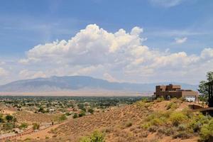 Adobe architecture style house in Albuquerque, New Mexico