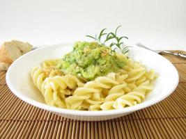 Pasta with zucchini sauce and breadcrumbs