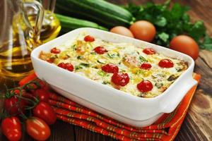 Zucchini baked with chicken, cherry tomatoes and herbs