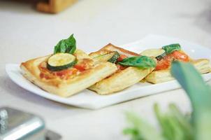 puff with tomato and zucchini