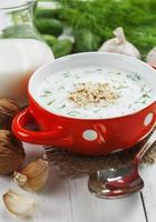Summer soup with cucumbers, yogurt and walnuts
