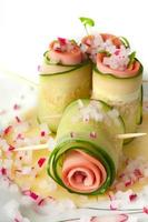 Cucumber rolls with pate