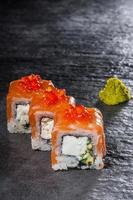 Rolls with salmon and cheese