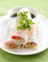 Up close vegetable spring rolls photo