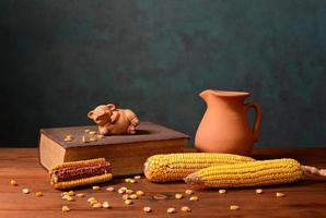 Corn and pigs figures on books photo