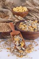 Muesli, cornflakes and wheat photo