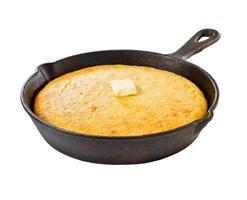 Corn bread in iron skillet