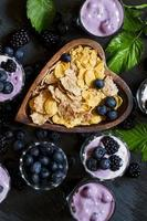 Healthy breakfast of whole grain cereal and berries photo