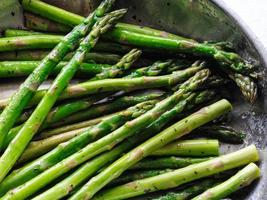 Detail of Organic Asparagus in a Frying Pan photo